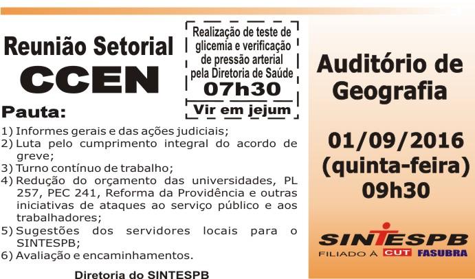 Reunião Setorial CCEN - 01 09 2016