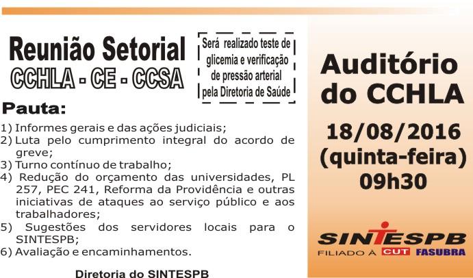 Reunião Setorial CCHLA CE CCSA- 18 08 2016