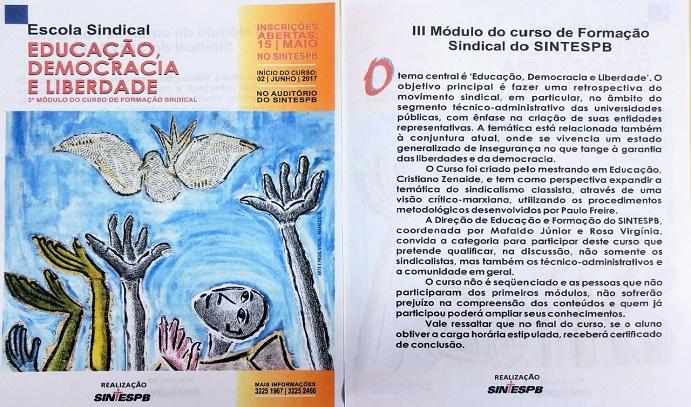 III Módulo do Curso de Formação Sindical do SINTESPB - panfleto SITE