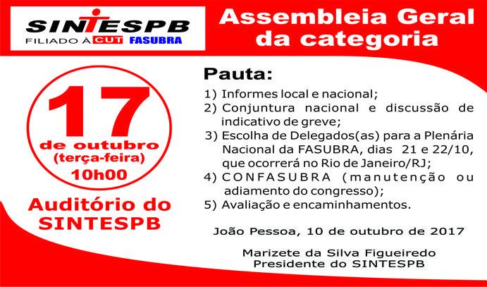 67559aa047 SINTESPB convoca assembleia geral