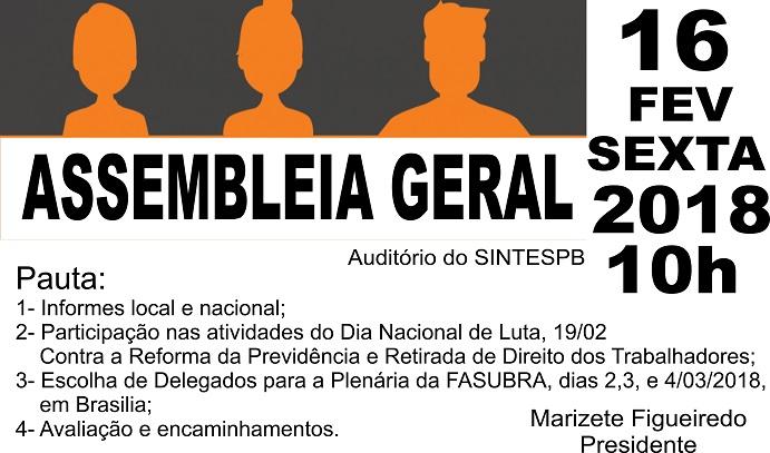 b4528aac08 SINTESPB realiza assembleia após o carnaval para discutir participação no  Dia Nacional de Lutas contra a reforma da previdência